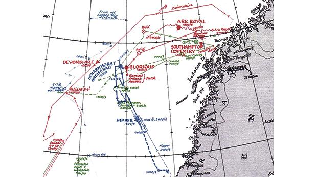 A map of the battle in which HMS Glorious was sunk.