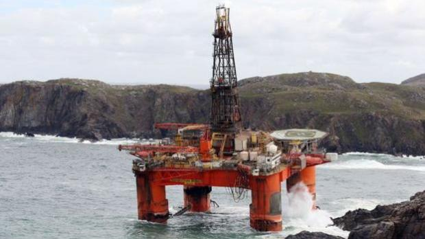 Fuel tanks breached on oil rig swept onto Scottish beach