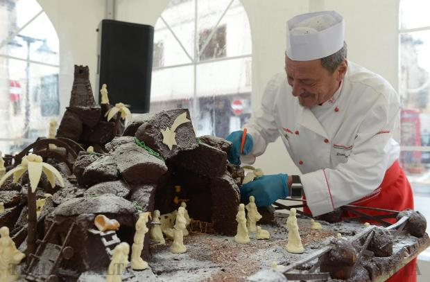 Four days of work, 50 kilos of chocolate and 80 kilos of panettone come together in a unique work of art, a chocolate nativity scene assembled by artisans at the Dolceria Appetitoso in Gharghur on December 18. Photo: Matthew Mirabelli