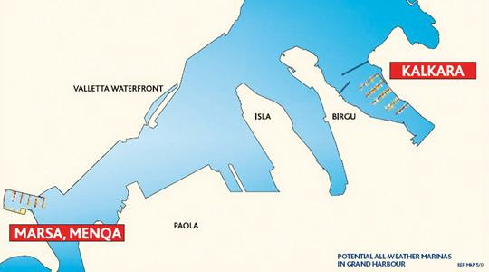 The location of the proposed new marinas at Kalkara and Menqa.