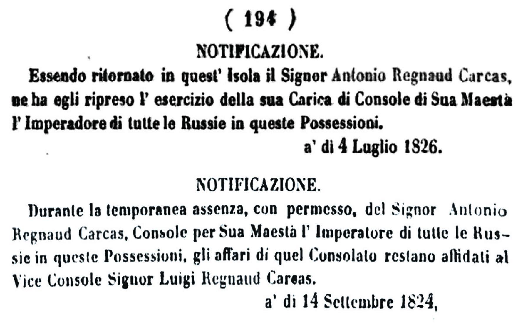 References in The Malta Government Gazette to Antonio Regnaud Carcas, Russian consul in Malta.