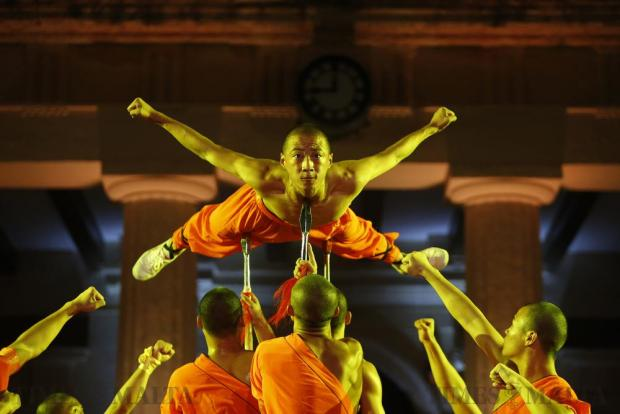 Shaolin monks of the Dengfeng Zhongyue Shaolin Boxing Culture Troupe from Henan Province in China perform in St George's Square in Valletta on September 17. Photo: Darrin Zammit Lupi