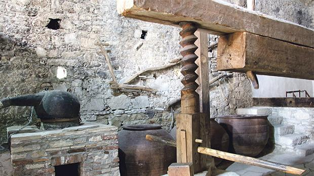 Omodos: traditional winemaking equipment.