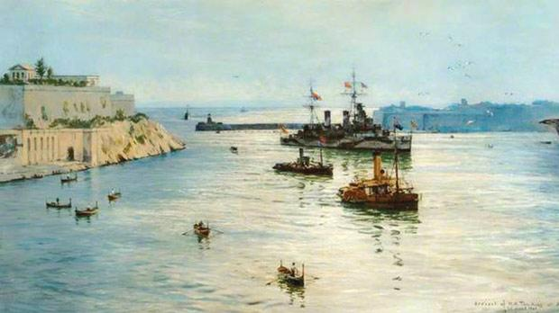 HMS Aurora entering the Grand Harbour, preceded by two smaller vessels. Oil on canvas by Rowland Langmaid (1897-1956).