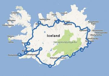 Iceland ring road map.