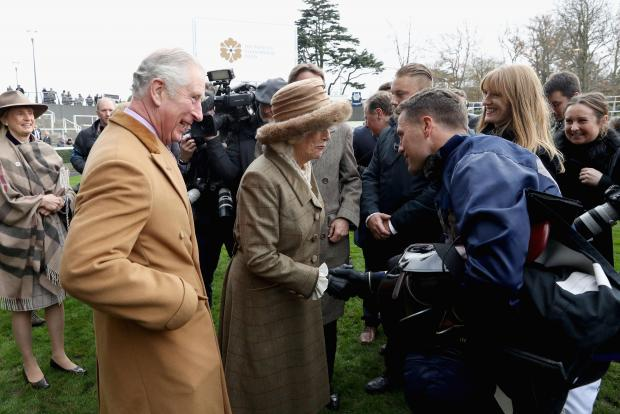 Michael Owen speaks with the Duchess of Cornwall after placing second at Ascot.