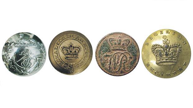 From left: Chasseurs Britanique button, Royal Corsican Regiment button, Watteville's Regiment button and Sicilian Regiment button.