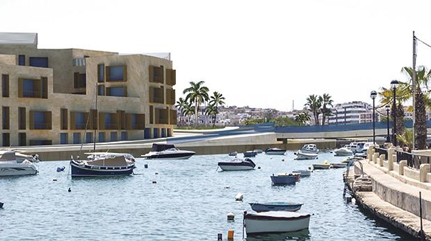 Viewpoint 9: A close-up of the artist's impression of buildings in the proposed Marina Village and new bridge.