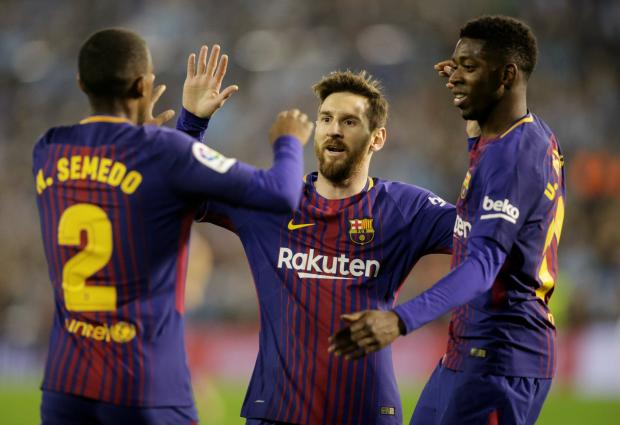 Barcelonas Lionel Messi Celebrates With Ousmane Dembele And Nelson Semedo After Paulinho Not Pictured