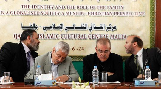 From left: Imam Muhammed El Sadi; head of Islamic Centres Ammar Hreba; Archbishop Paul Cremona and Maltese Muslim Mario Farrugia Borg. Photo: Darrin Zammit Lupi