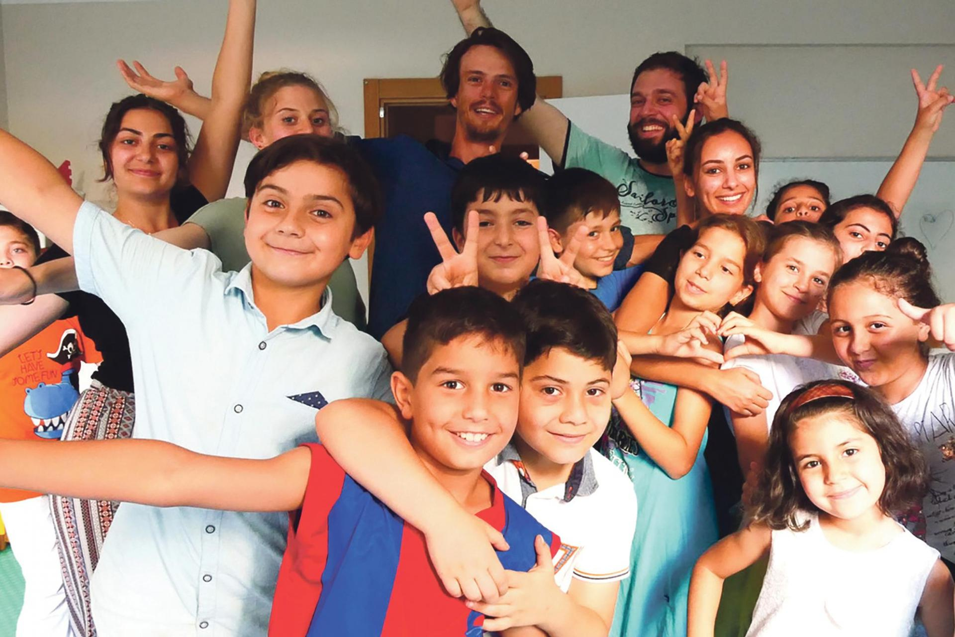 Gabin Corredor with Syrian refugees in Istanbul.