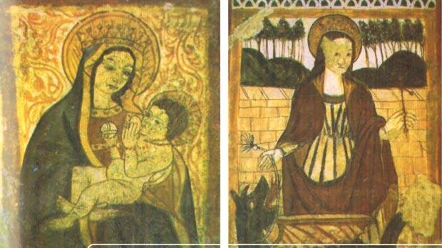Frescoes in St Agatha's Crypt.