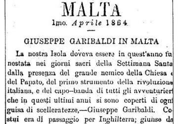 The beginning of the derogatory report carried in L'Ordine of April 1, 1864, on Garibaldi's visit to Malta. Courtesy of the National Library of Malta