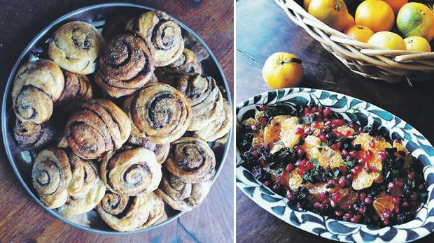 Cinnamon rolls. Right: All dishes are prepared using natural ingredients.