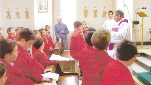 Students from Stella Maris School, which is run by the Franciscan Missionaries of Mary, at Mass with Fr Anton Portelli and Sr Rosaria Agius fmm.