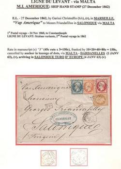 A ship hand stamp on a cover sent to Constantinople via Malta, dated December 27, 1862