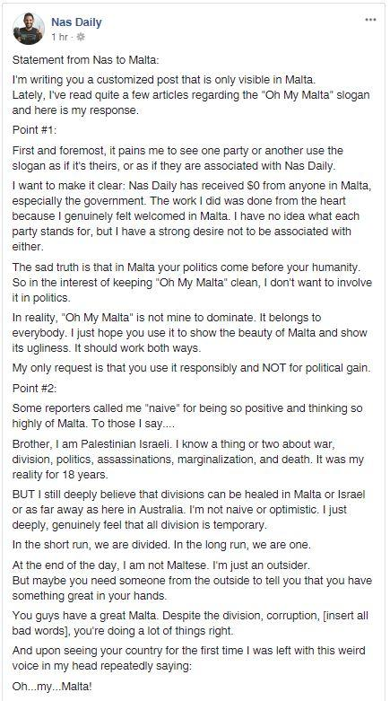 Nas Daily's heartfelt message to Malta. Screenshot: Facebook/Nas Daily