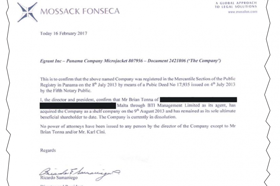 The ownership document 'created' by Tonna and Cini, then signed by Samaniego.