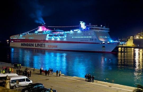 The Knossos Palace about to berth last night. Picture: Alan Falzon.