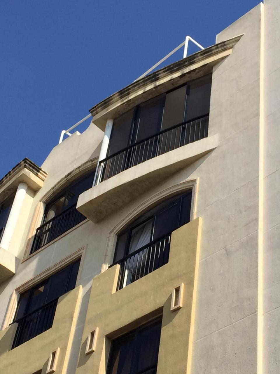 The victim fell from the balcony on the seventh floor of this apartment block in Gzira.