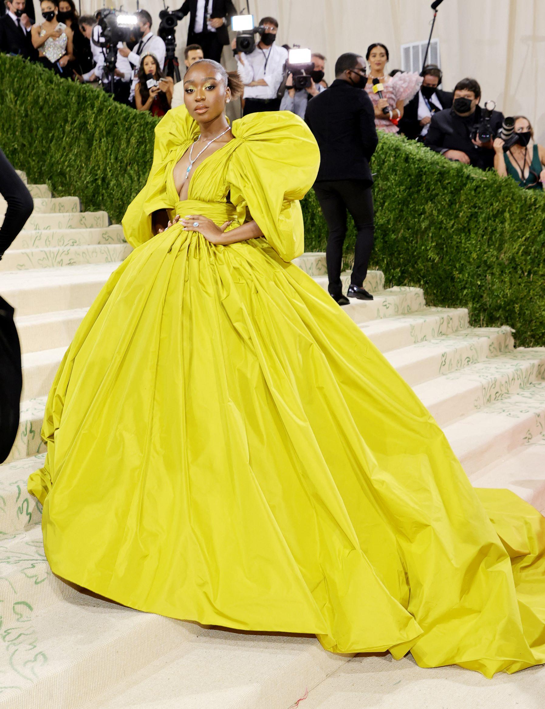 Singer Normani in her yellow Valentino gown. Photo: Mike Coppola/Getty Images North America/Getty Images via AFP