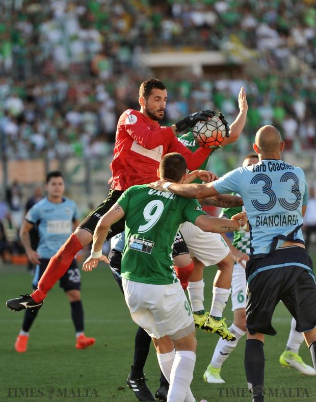 Sliema Wanderers keeper Giuseppe Sarao secures the ball in the FA Trophy final against Floriana FC, which saw Floriana beat Sliema 2-0 on May 20 at the National Stadium in Ta'Qali. Photo: Chris Sant Fournier