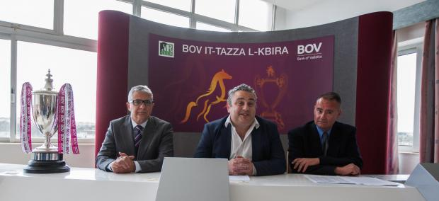 Malta Racing Club chairman Edwin Borg (centre) addressing the media alongside general secretary Thomas Cunningham (right) and BOV representative Charles Azzopardi.