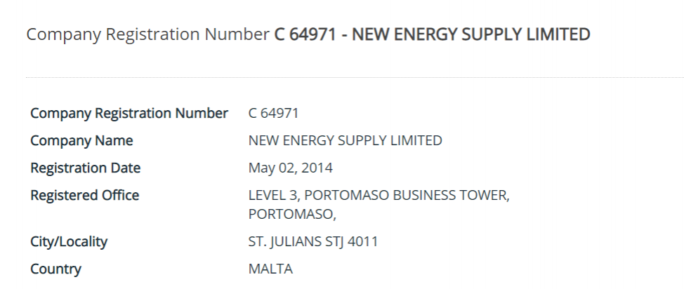 New Energy Supply Limited was registered in 2014.