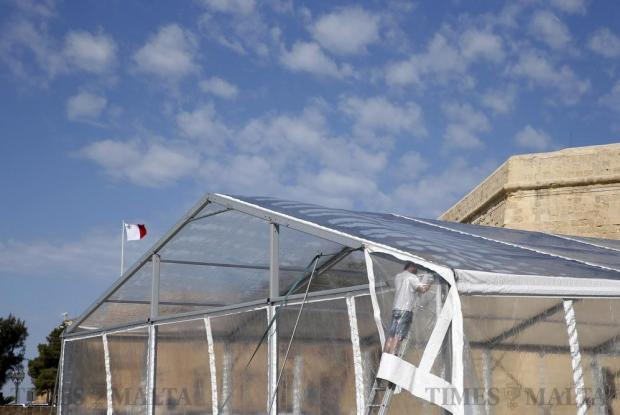 A large tent is set up for an activity organised by the Labour Party's youth wing at Castille Place in Valletta on April 27. Photo: Darrin Zammit Lupi