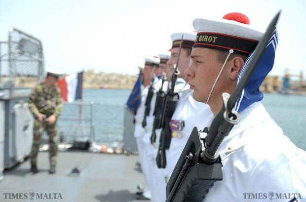 French sailors stand to attention as the French Ambassador to Malta boards the Commandant Birot in Valletta on May 15. The ship is one of the French vessels committed to Triton, run by Frontex, the EU border agency. Photo: Matthew Mirabelli