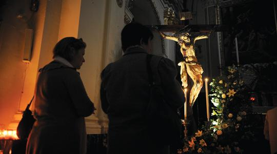 The miraculous crucifix at the Franciscan church of St Mary of Jesus (Ta' Ġieżu), Valletta, has been taken out of its niche for the first time in eight years and placed near the main altar, attracting thousands of pilgrims. Photo: Matthew Mirabelli.