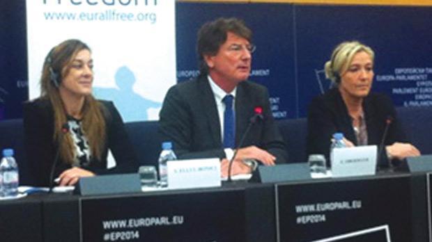 Sharon Ellul Bonici, left, with Franz Obemayr and Marine Le Pen.