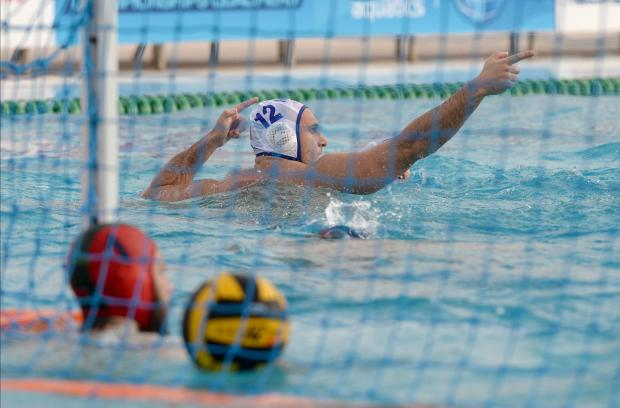 Malta's Dino Zammit gestures to the crowd after scoring a goal against Belarus during their European Water Polo Championship play-off match at the National Pool in Tal Qroqq on March 3. Photo: Matthew Mirabelli
