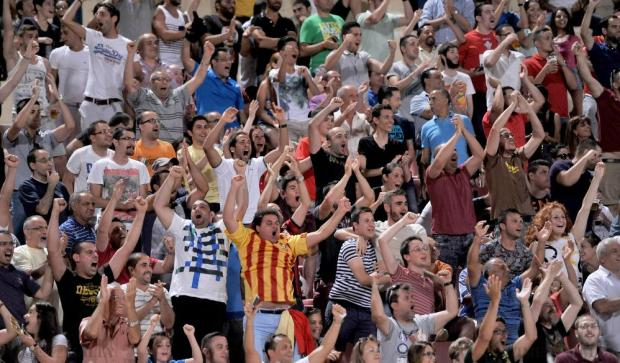 Birkirkara supporters celebrate Fabrizio Miccoli's goal against West Ham during their UEFA Europa League qualifier at the National Stadium in Ta'Qali on 23 July. Photo: Chris Sant Fournier