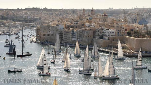 Sail boats wait in anticipation for the start of the Rolex Middle Sea Race in Grand Harbour on October 22. Photo: Chris Sant Fournier
