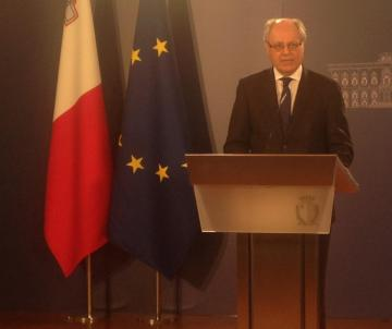 Finance Minister Edward Scicluna addressing the news conference.