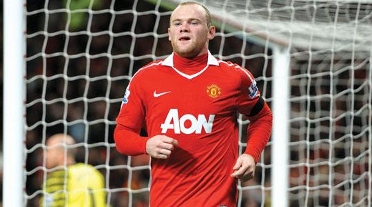 Wayne Rooney after scoring for United, yesterday.