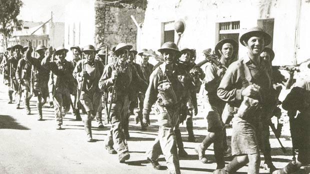 Men of the British Eighth Army enter Tobruk on 6 November 1942.