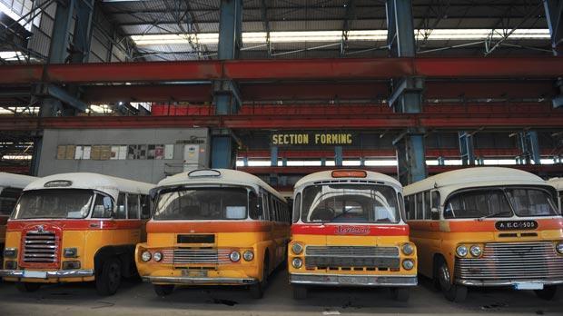 The old buses garaged at the former Marsa Shipbuilding premises. Photo: Jason Borg