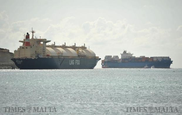 The controversial LNG tanker Armada Mediterrana moored in Marsaxlokk bay on October 19. Photo: Chris Sant Fournier