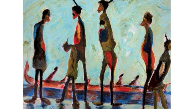 Lost Boats – oil on paper by Matug Aborwai.