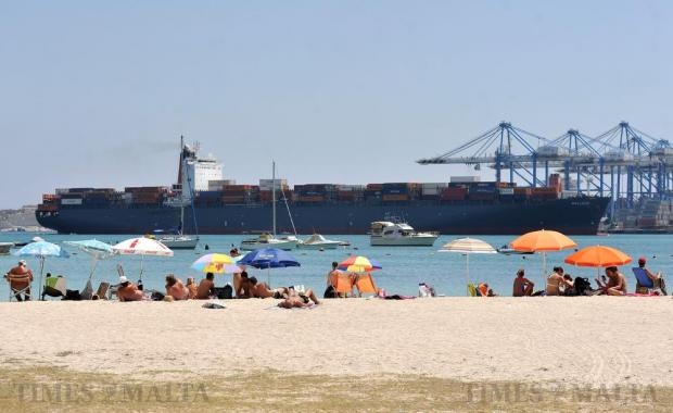 A container ship slowly makes its way to berth at the Malta Freeport in Birzebbugia on August 17. Photo: Chris Sant Fournier