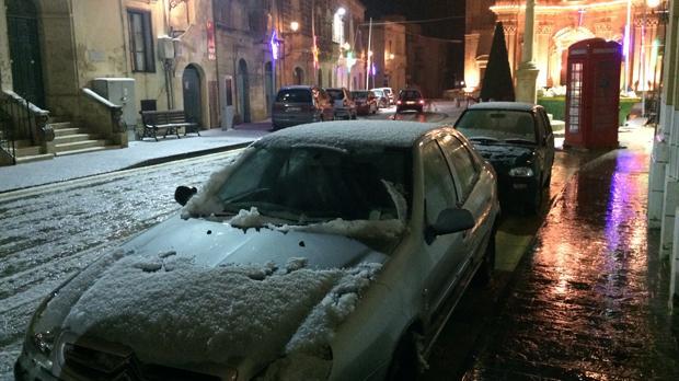 Hail in Għarb, Gozo. Photo: Jonathan Agius