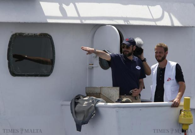 Migrant Offshore Aid Station (MOAS) founder Christopher Catrambone (left) and Will Turner (right) of Medecins san Frontiere (MSF) stand outside the bridge of the MOAS ship MV Phoenix as it leaves Valletta's Grand Harbour on May 2. The 40-metre ship MV Phoenix, manned by personnel from international non-governmental organisations MSF and MOAS, left Malta for a six-month mission to search for and rescue migrants in the Mediterranean. The Phoenix is the first privately funded vessel to operate in the Mediterranean. Photo: Darrin Zammit Lupi