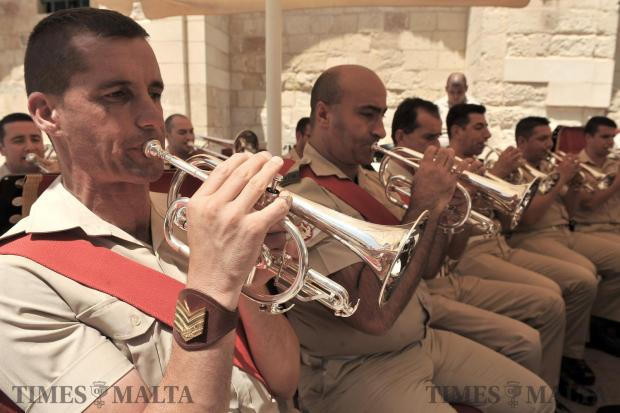 The AFM band play tunes at the San Anton Presidential Palace open day on May 27.  Photo:  Chris Sant Fournier