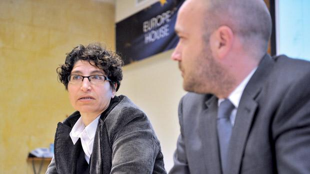 Malta Gay Rights Movement coordinator Gabi Calleja and position paper author, Neil Falzon. Photo: Jason Borg