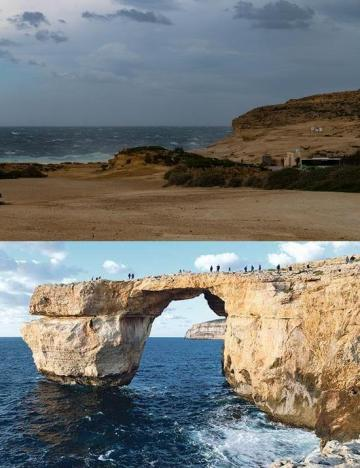 The 'Azure Window' now and then. Photo above: Roger Chessnell, below: file photo