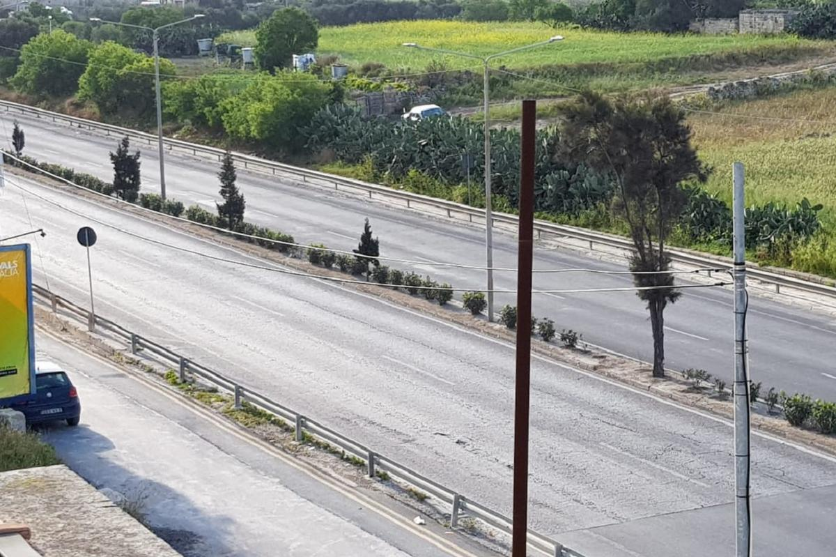 A quiet stretch of the Mrieħel Bypass on Monday morning.