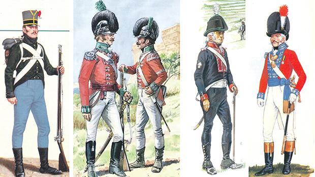 From left: Private, Swiss Regiment de Watteville, Officer and private, The King's Sicilian Regiment of Light Infantry, by R.J. Marrion, Sergeant, Franco- Maltese Artillery and Officer, Regiment de Meuron.