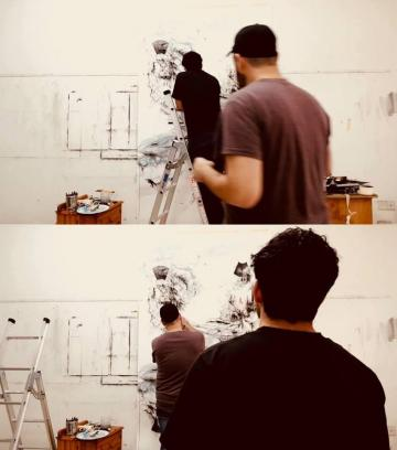 The artists at work.